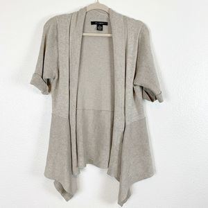 89th & Madison Gray Open Front Waterfall Cardigan